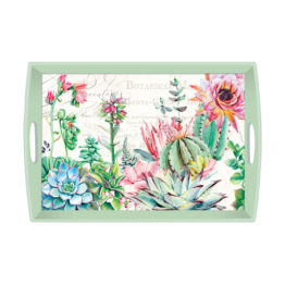 Pink Cactus large wooden tray
