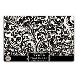 Black Damask Paper Placemats